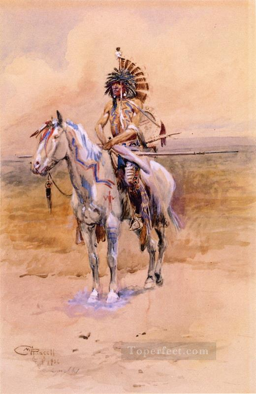 mandan warrior 1906 Charles Marion Russell American Indians Oil Paintings